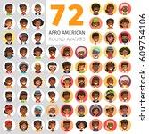 big set of 72 flat african...   Shutterstock .eps vector #609754106
