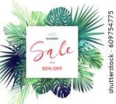 green botanical summer tropical ... | Shutterstock .eps vector #609754775