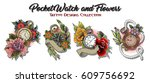 pocket watch and flowers... | Shutterstock .eps vector #609756692