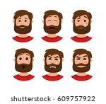 beard men facial expression...   Shutterstock .eps vector #609757922