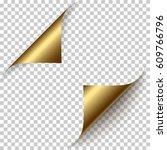 vector realistic golden foil... | Shutterstock .eps vector #609766796