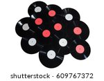 many vinyl discs red and white... | Shutterstock . vector #609767372
