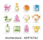 simple child  baby and baby... | Shutterstock .eps vector #60976762
