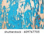 old wooden board painted in blue | Shutterstock . vector #609767705