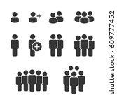 business team icons vector set. ... | Shutterstock .eps vector #609777452