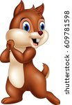 Cartoon Funny Chipmunk Isolate...
