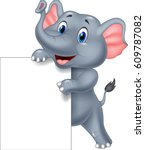 funny elephant cartoon holding... | Shutterstock .eps vector #609787082