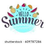 hello summer hand sketched... | Shutterstock .eps vector #609787286