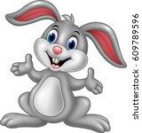 cartoon cute rabbit posing | Shutterstock .eps vector #609789596