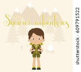 summer adventures concept.... | Shutterstock .eps vector #609791522