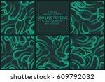 set of 5 vector abstract green... | Shutterstock .eps vector #609792032