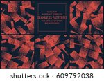 set of 5 vector abstract orange ... | Shutterstock .eps vector #609792038