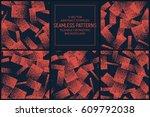 set of 5 vector abstract orange ... | Shutterstock .eps vector #609792038