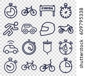 race icons set. set of 16 race... | Shutterstock .eps vector #609795338