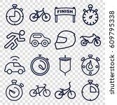 race icons set. set of 16 race... | Shutterstock .eps vector #609795338