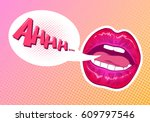 pop art woman lips. sexy mouth. ... | Shutterstock .eps vector #609797546