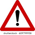 warning sign with exclamation... | Shutterstock . vector #609799958