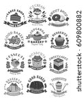 bakery and cake shop icons of... | Shutterstock .eps vector #609800882