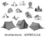 camp tent icons for camping... | Shutterstock .eps vector #609801116