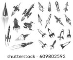 rocket or spaceships and space... | Shutterstock .eps vector #609802592