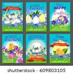 happy easter cartoon greeting... | Shutterstock .eps vector #609803105