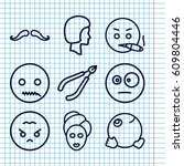 set of 9 facial outline icons... | Shutterstock .eps vector #609804446