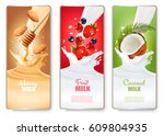 set of three labels of of fruit ... | Shutterstock .eps vector #609804935