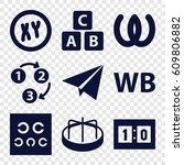 alphabet icons set. set of 9... | Shutterstock .eps vector #609806882