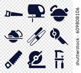 saw icons set. set of 9 saw... | Shutterstock .eps vector #609808106