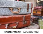 a pile of old and worn antique... | Shutterstock . vector #609809702