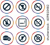 forbidden icons set. set of 9... | Shutterstock .eps vector #609810482