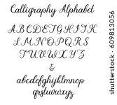 calligraphic vector font.... | Shutterstock .eps vector #609813056