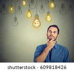 portrait thinking handsome... | Shutterstock . vector #609818426