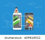 mobile banking and money... | Shutterstock .eps vector #609818522