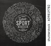 chalkboard vector hand drawn... | Shutterstock .eps vector #609819782