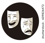 theater comedy and drama masks   Shutterstock .eps vector #609826472