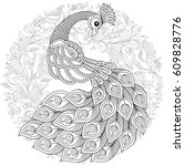 peacock in zentangle style.