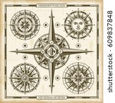 vintage compass roses set   Shutterstock . vector #609837848