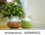 aroma oil diffuser on blurred...   Shutterstock . vector #609840422