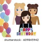 happy birthday card with anime... | Shutterstock .eps vector #609845942