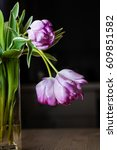 Small photo of Pink feathered tulips in a glass vase droop downward.