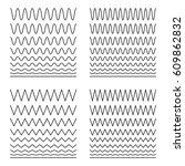 set of wavy   curvy and zigzag  ... | Shutterstock .eps vector #609862832
