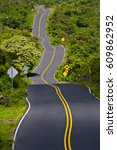 curves and winding road  maui ... | Shutterstock . vector #609862952