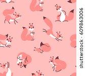 little cute squirrels. seamless ... | Shutterstock .eps vector #609863006