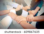 hand of people working assemble ... | Shutterstock . vector #609867635