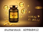 royal jelly ad with capsules... | Shutterstock .eps vector #609868412