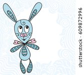 cute cartoon bunny toy and...   Shutterstock .eps vector #609872996