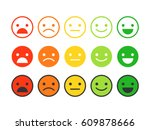 colored flat icons of emoticons.... | Shutterstock .eps vector #609878666