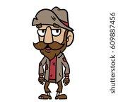 cartoon homeless person vector...   Shutterstock .eps vector #609887456
