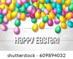 easter frame with shiny... | Shutterstock .eps vector #609894032
